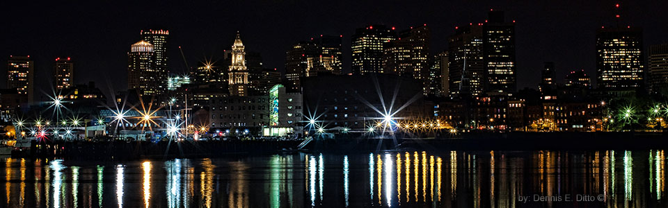 Boston at Night by Dennis Ditto